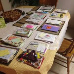 Collecting greeting cards to sort.