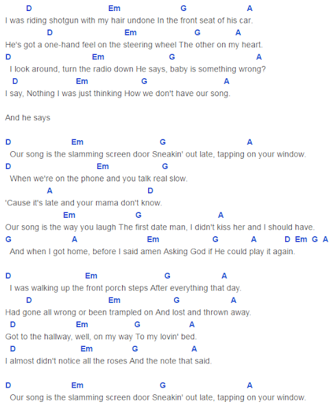 Our Song Taylor Swift Lyrics And Chords