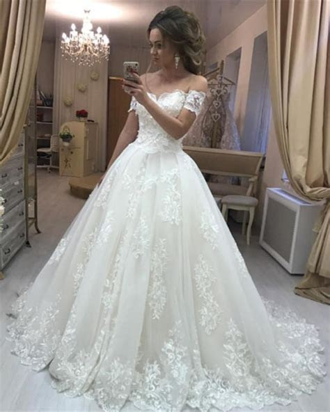 Lace Embroidery Off Shoulder Tulle Wedding Dresses