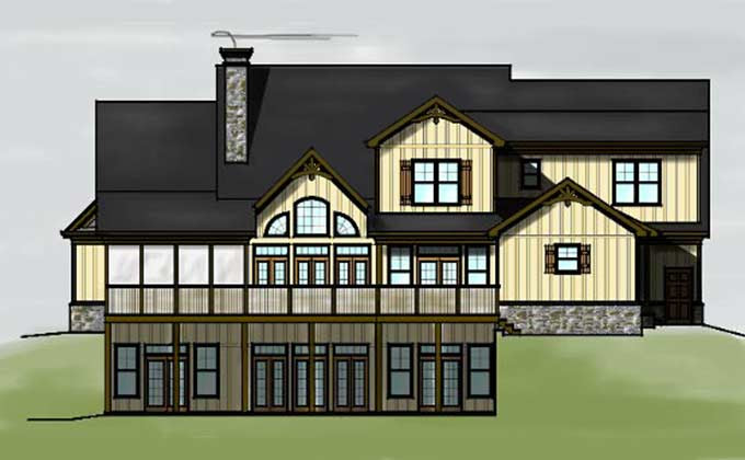 Lake House Plan with Garage   Lake Home Plan with walkout basement