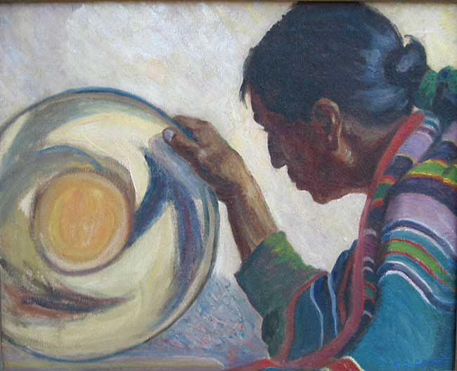 <i>Taos Indian with Bowl</i> Oil on canvas 18 x 22 inches Signed: lower right