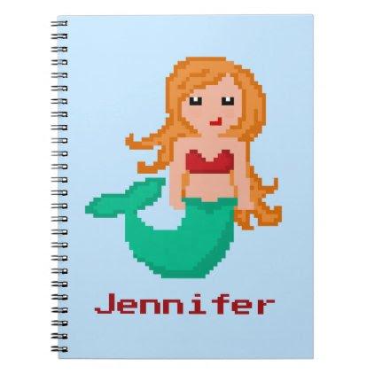 8Bit Pixel Geek Mermaid Custom Spiral Notebook