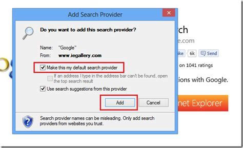 Change Internet Explorer Search Provider From Bing To