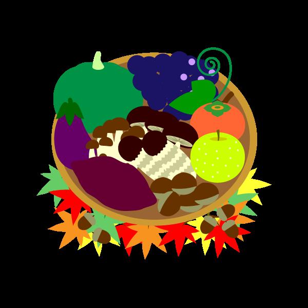縁無しでかわいい秋の味覚狩りの無料イラスト商用フリー オイデ43