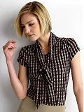 Women: Chainlink tie-neck top - Black combo