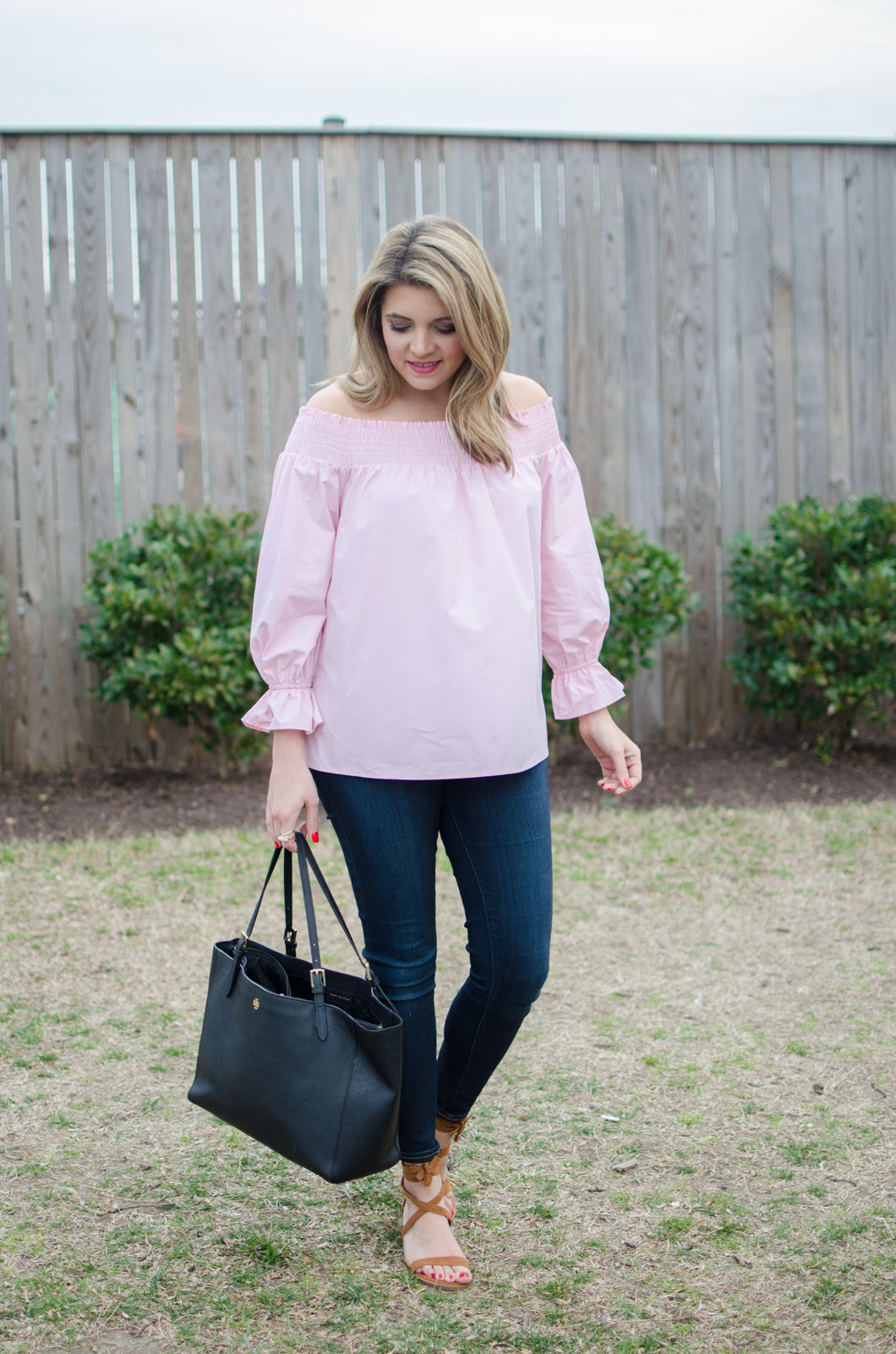 bow off shoulder top  girly spring outfit lauren m