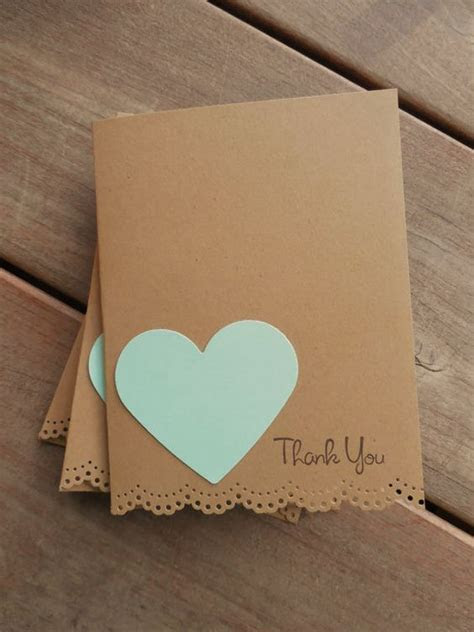Mint Heart Card Lace Edge Thank You Cards  Rustic Thank