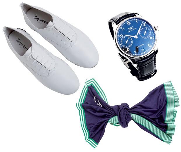Sapatos Repetto R$ 998  Lenço Hermès R$ 1.500 Relógio IWC Pilot Spitfire R$ 41.300 (Foto: Carlos Bessa)