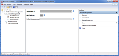 Windows Azure MMC Services Management Node Connection