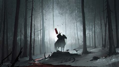 wallpaper  blood dark forest horse samurai warrior