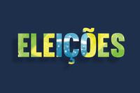 Arte com fundo azul marinho escrito eleições com as cores da bandeira do Brasil