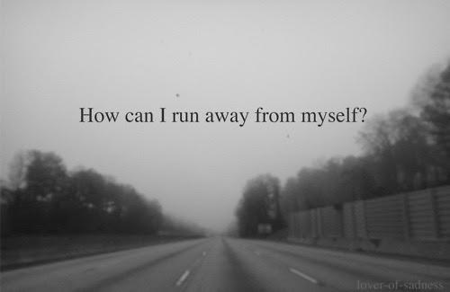 depressed depression pain hurt sadness running away