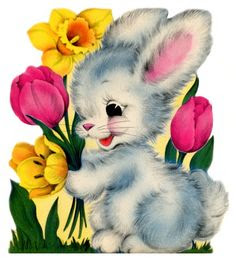 vintage easter card - fluffy little bunny with spring flowers