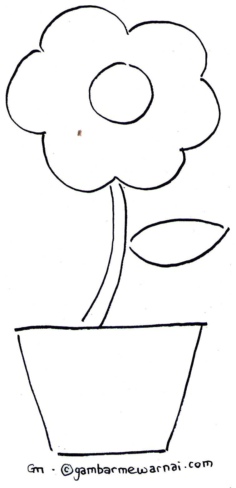Mewarnai Bunga Sederhana Gambar Mewarnai