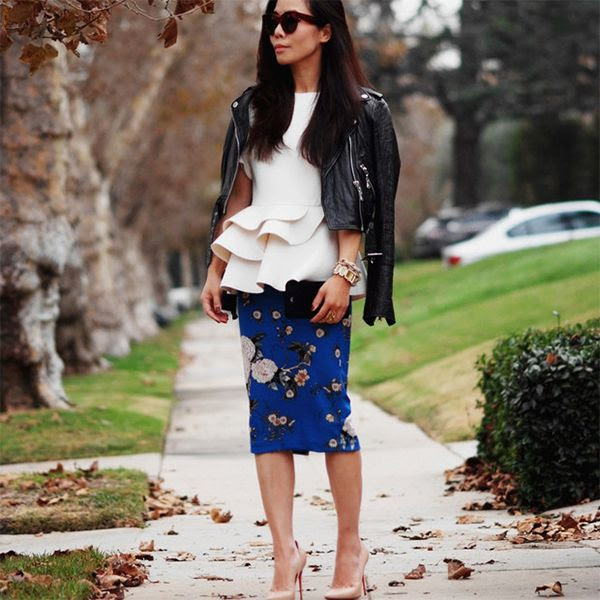 Rough up a floral skirt and feminine blouse with a leather jacket like Halliedaily // #Fashion #StreetStyle