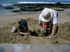 Digging at Pebbly Beach