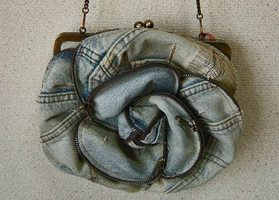 Denim rose pouch