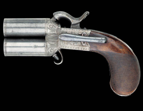 ratak-monodosico:  A very small 19th century Irish 2 shot percussion boxlock pistol. Sold by Christies for $7,000