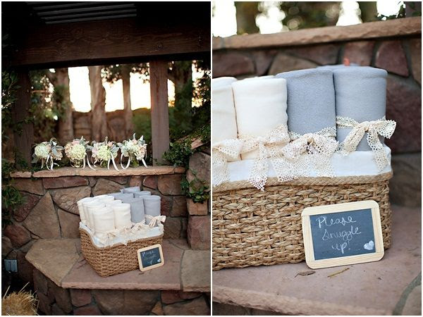 blankets as wedding favors or for wedding guests - October wedding!