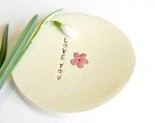 Ceramic Pink Flower Plate Love Text Pottery Mother Days Dish - Ceraminic