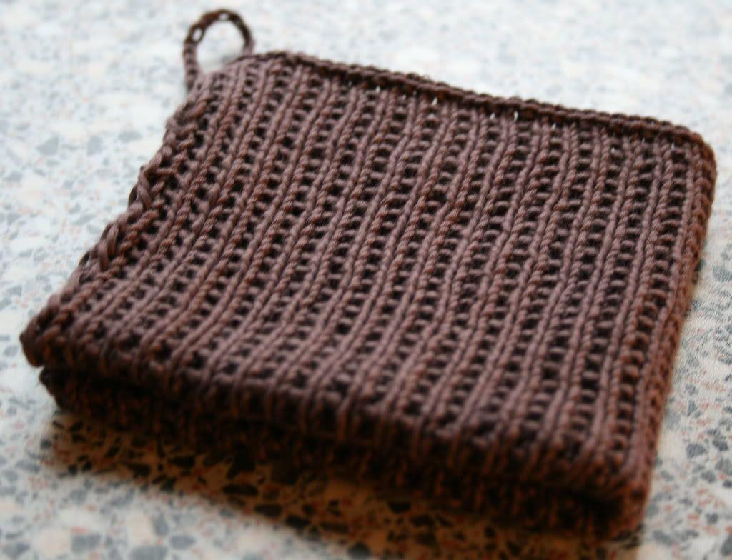 Sjokoladebrun kjøkkenklut strikket av meg idag, he-he!