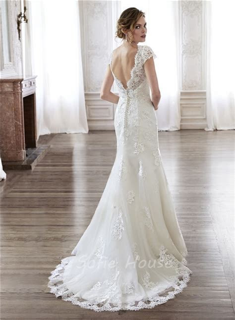Mermaid Scalloped Neckline Open Back Vintage Lace Wedding