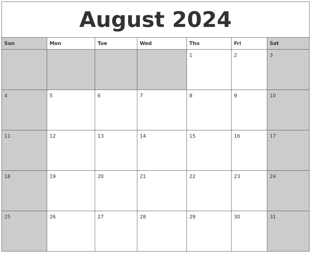 august 2024 calanders