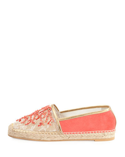 Beaded Lace & Suede Espadrille, Coral