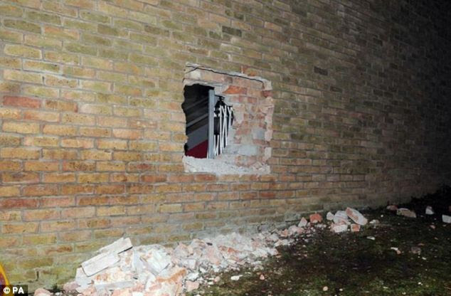 Raid: Thieves chiselled a 2ft-by-3ft hold in the wall of the Oriental Museum of Durham University in April 2012