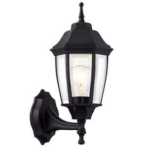 Hampton Bay Black 1-Light Outdoor Dusk-to-Dawn Wall Lantern ...