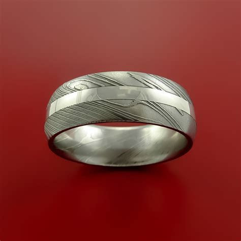 Damascus Steel Ring and Palladium Inlay Wedding Band