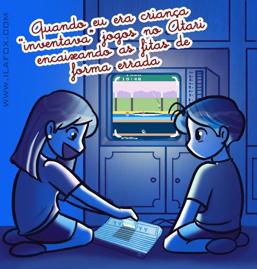 recordar é viver, quando era criança inventava jogos do Atari encaixando as fitas pela metade, ilustração by ila fox