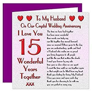 My Husband 15th Wedding Anniversary Card   On Our Crystal