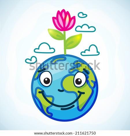 улыбающаяся Земля с цветком на голове