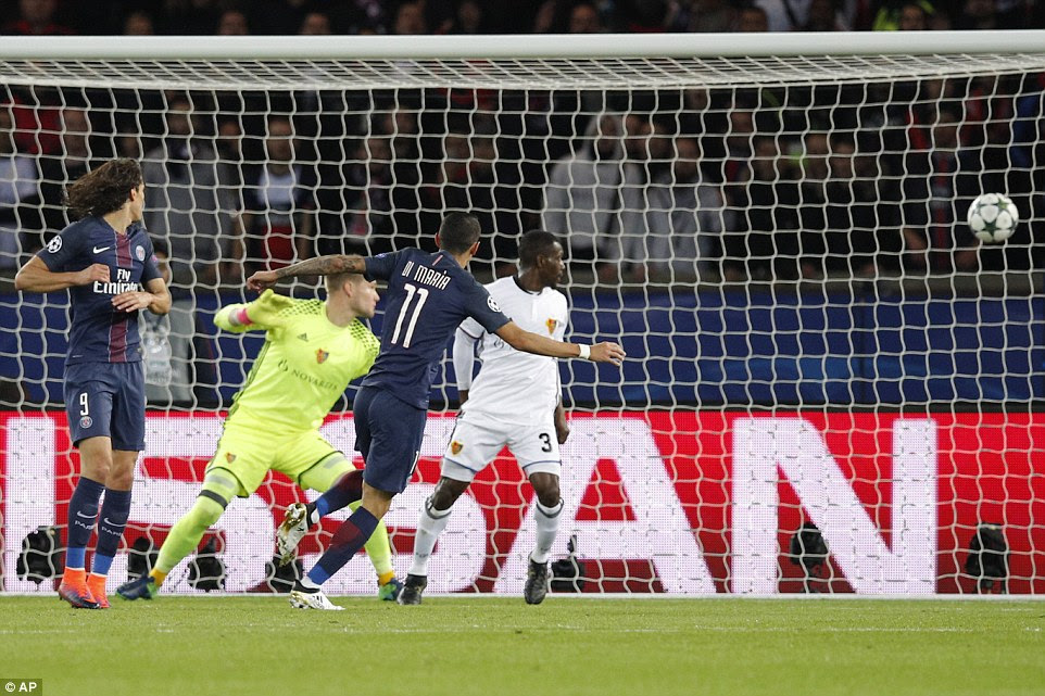 The former Manchester United winger latched onto Edinson Cavani's knockdown to rifle in this shot towards the top corner