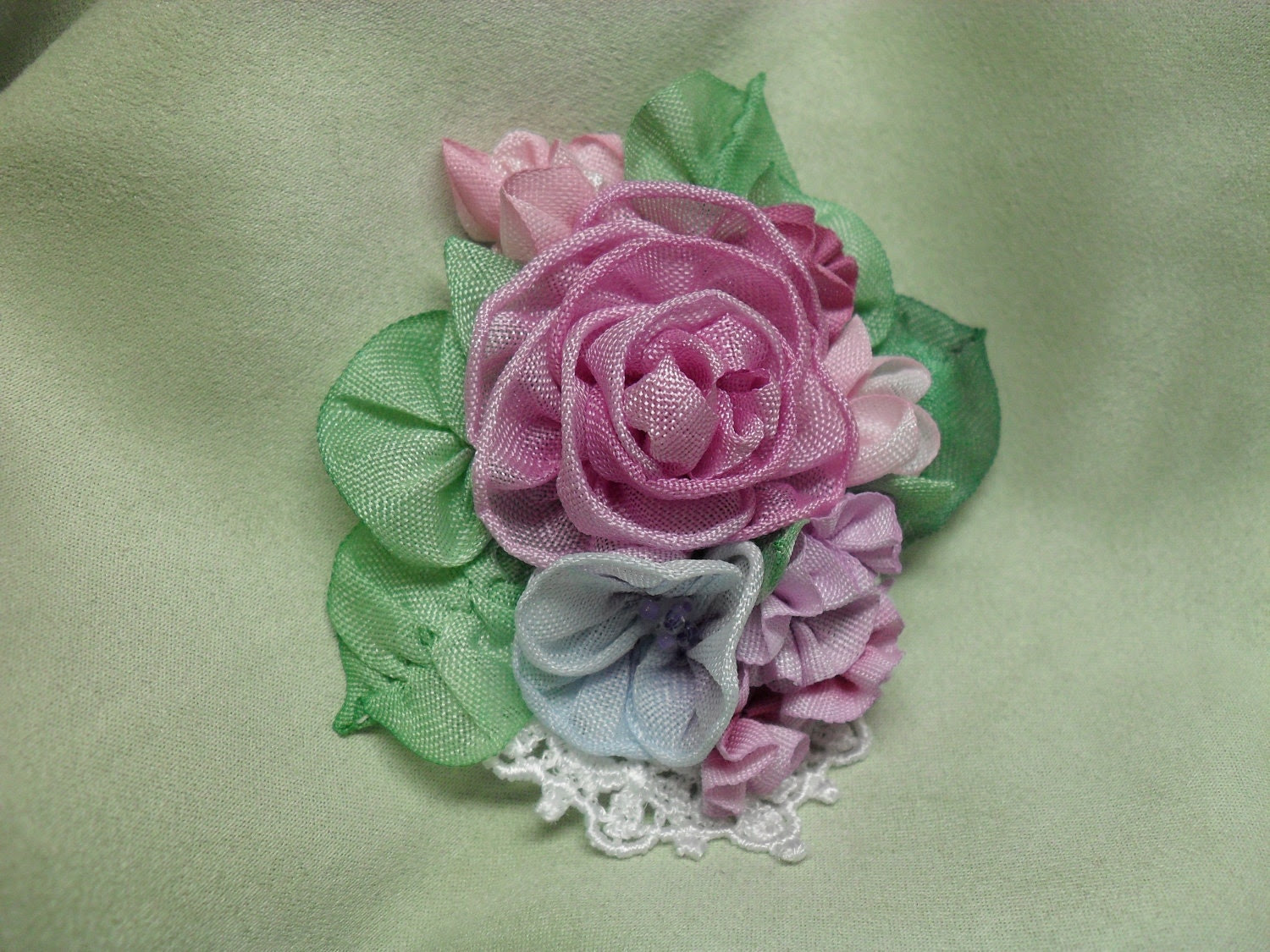 Ribbon flower pin brooch   hand dyed  ribbonwork rose  flowers