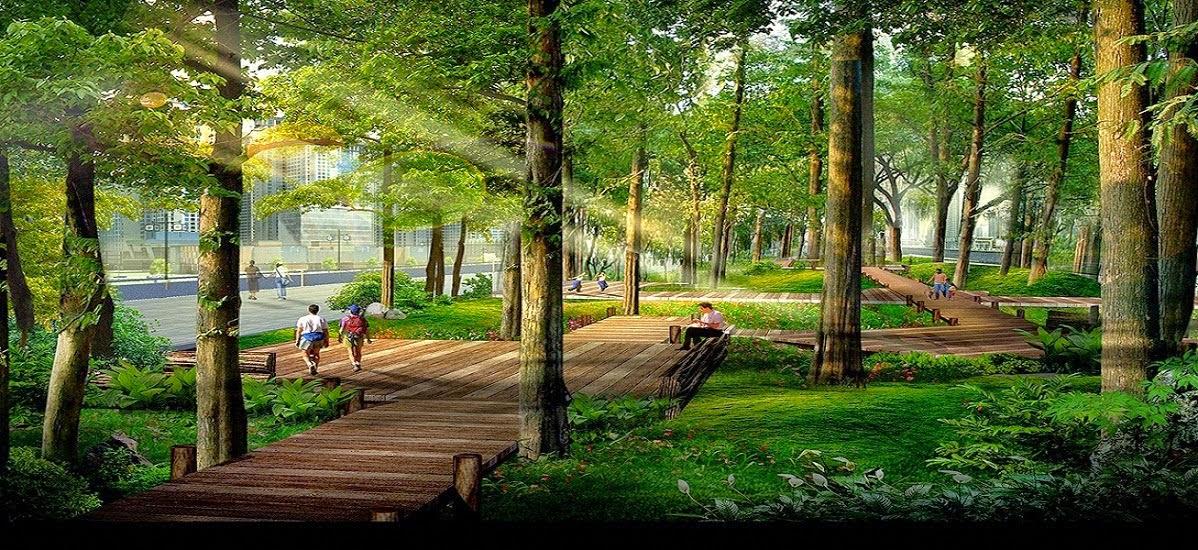 Vườn cây xanh tại Goldmark City