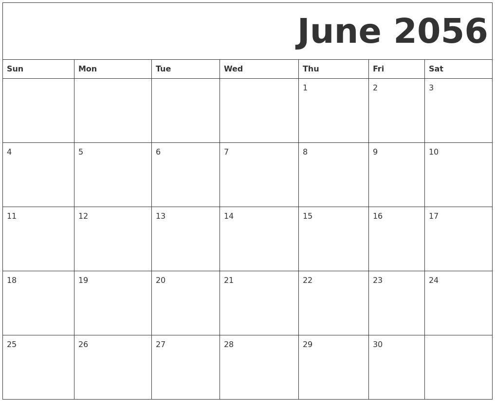 june 2056 free printable calendar