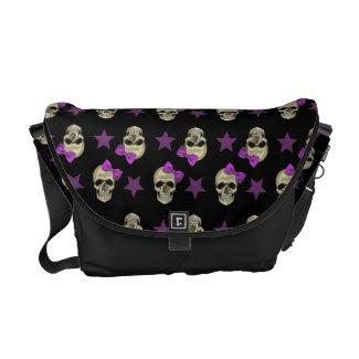 skull and bow messenger bag