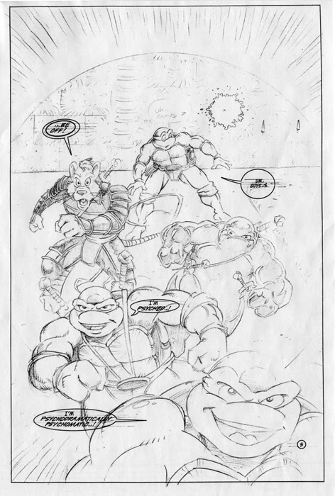 'The Forever War'   Unused TMNT Adventures 'The Forever War' pencils by Chris Allen ..((TMNTA story Never released)) Pg.5 ..[[courtesy of S. Murphy]]