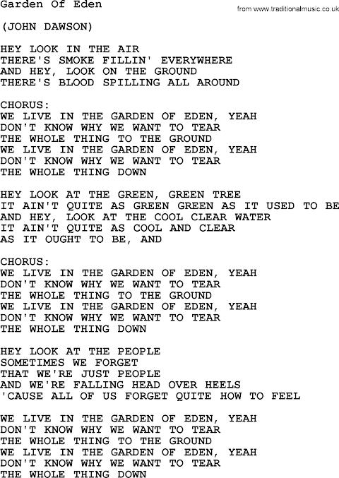 Lyrics To In The Garden Of Eden
