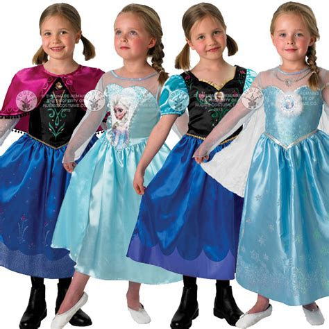 New Frozen Anna Elsa Costume & Wig Girls Disney Princess