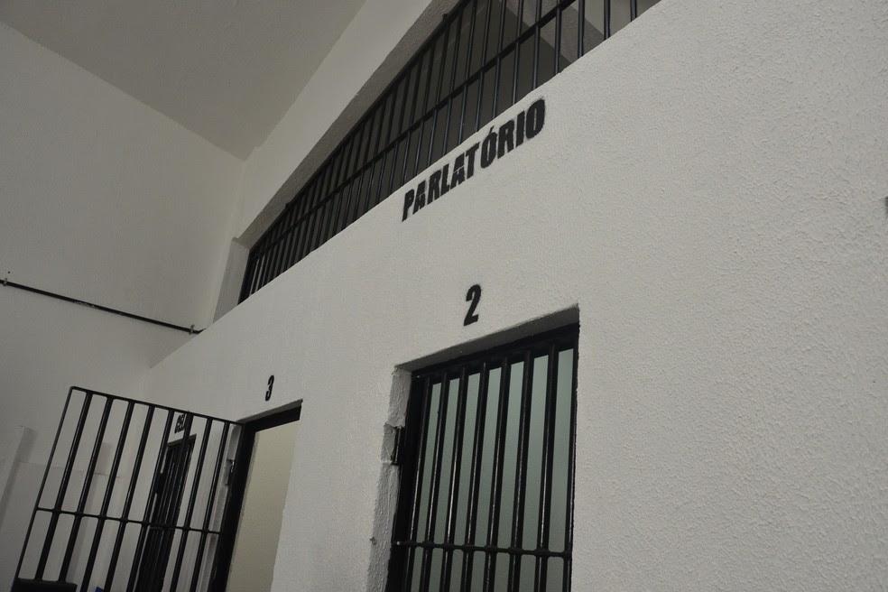 Pavilhão agora tem um parlatório com três salas para os detentos falarem com os advogados (Foto: Andréa Tavares/G1)