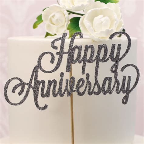 Silver Glitter Happy Anniversary Cake Topper