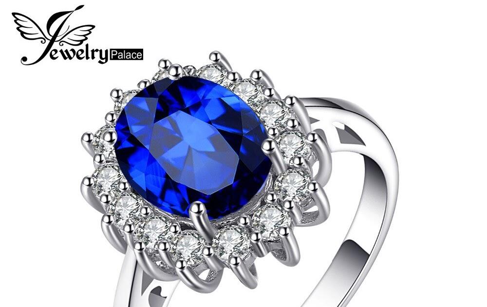 beda28303596 Comprar Anillo De Plata Ley 925 Compromiso Zafiro Azul Creado Quilates La  Princesa Diana JewelryPalace Online Baratos