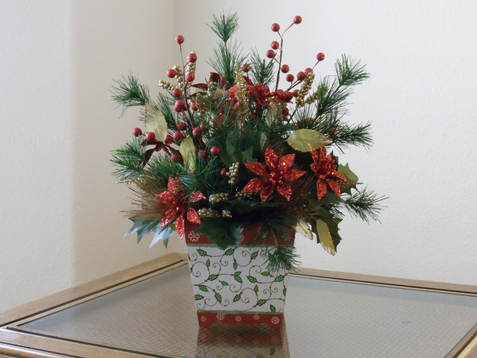 Homemade Christmas Fake Flower Arrangements Poinsettia Idea For Dining Alluring To