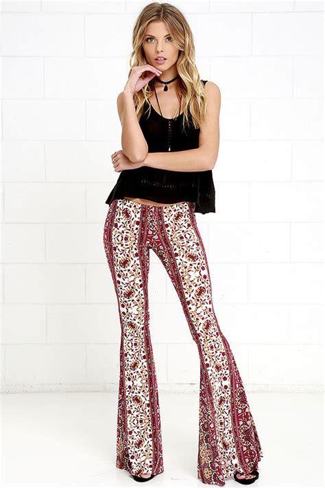 boho flare pants burgundy pants floral print pants