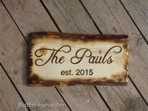 Buy Handmade Rustic Name Sign With Burned Edges, made to