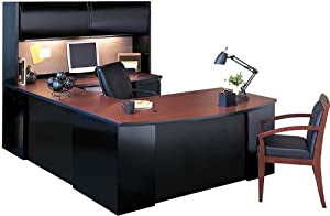 Mayline Office Furniture Steel U Shaped Desk with Hutch