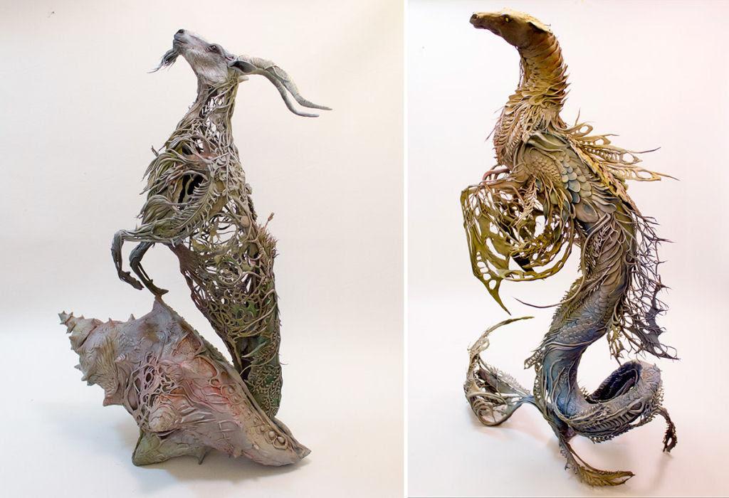 As esculturas surrealistas de Ellen Jewett mesclam plantas e vida animal 07